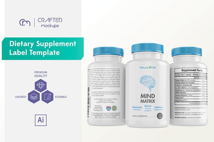 Cover Image For Dietary Supplement Label Template