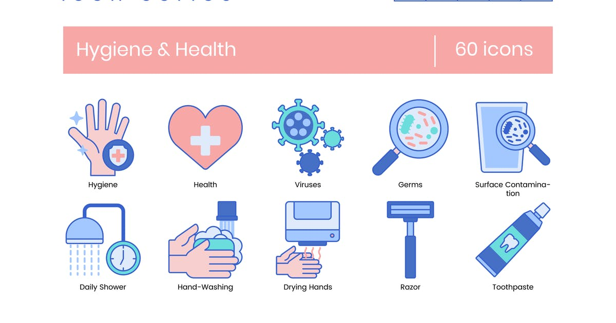 Download 60 Hygiene and Health Line Icons by Krafted