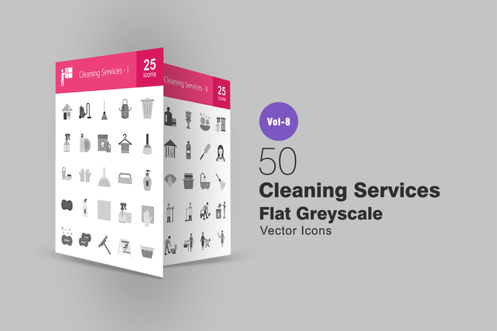 Thumbnail for 50 Cleaning Services Flat Greyscale Icons