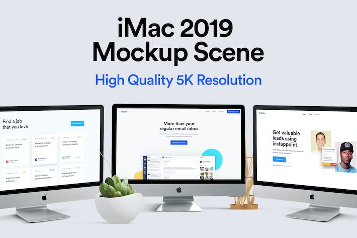 Thumbnail for iMac 2019 Mockup - Multi Devices