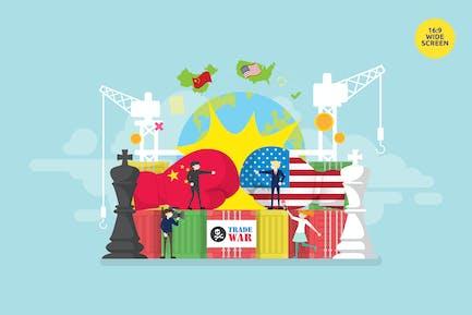 USA and China Trade War Vector Concept