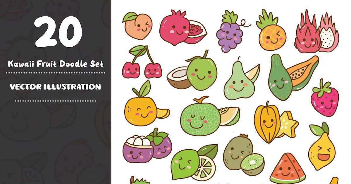 Download Kawaii Fruit Doodle Set by GoDoodle