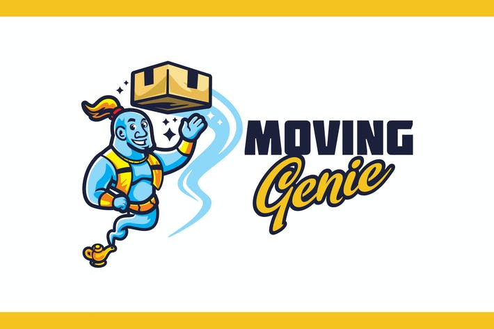Mover Genie Character Mascot - Moving Service Logo