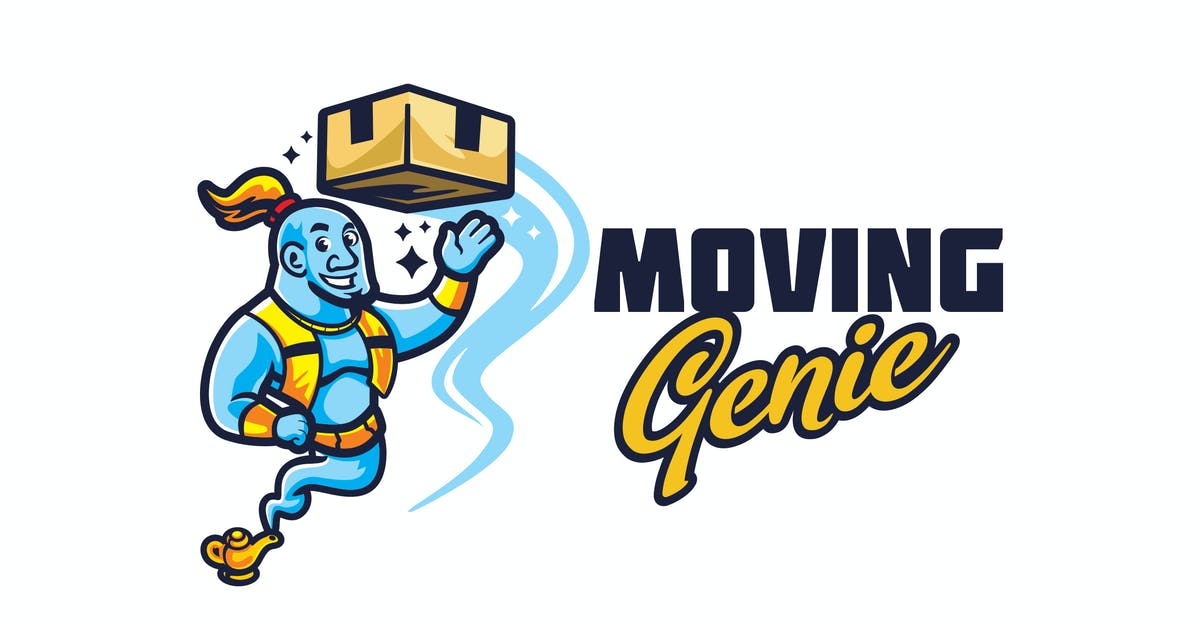 Download Mover Genie Character Mascot - Moving Service Logo by Suhandi