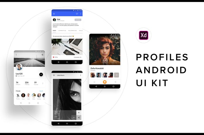 Thumbnail for Profiles Android UI Kit (Adobe XD)