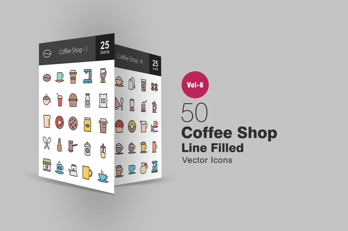 Thumbnail for 50 Coffee Shop Filled Line Icons