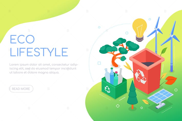 Thumbnail for Eco lifestyle - modern colorful isometric banner