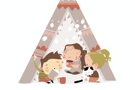 Cute little children play in a tent teepee. Vector