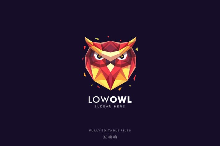 Thumbnail for Owl Head Poly Colorful Logo