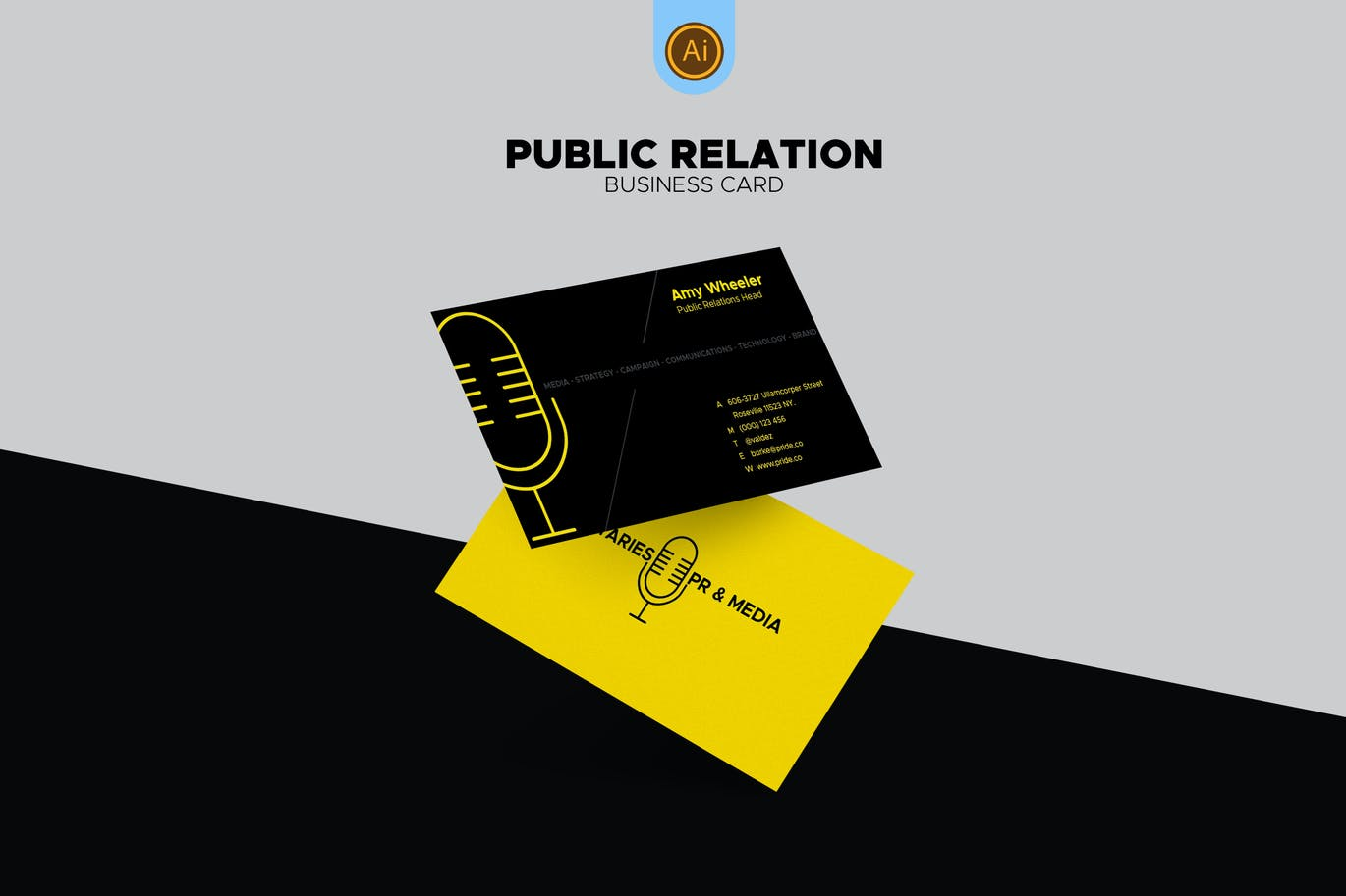 Public Relations Business Card 02 by afahmy on Envato Elements