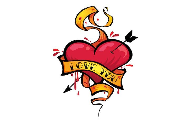 Liebe dich Herz Tattoo
