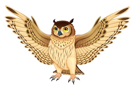 Owl with Opened Wings