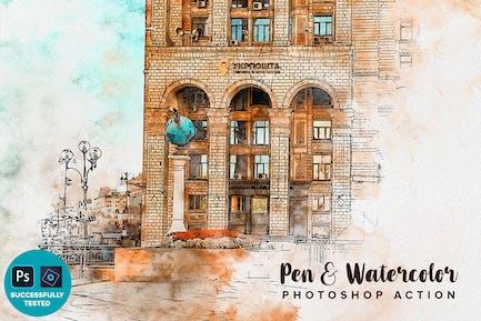 Pen & Watercolor Photoshop Action