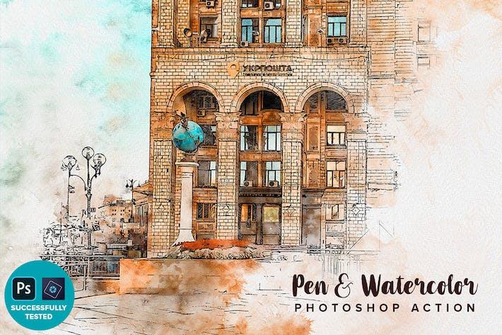 Ручка и акварель Photoshop Action