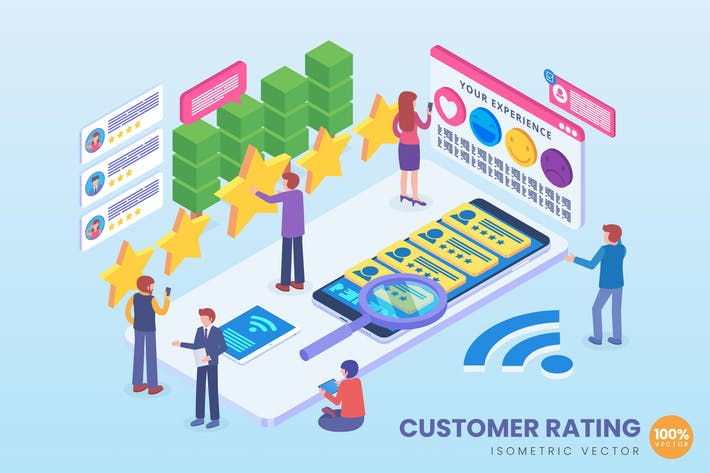 Thumbnail for Isometric Customer Rating Technology Vector