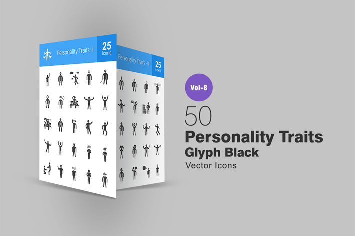 Thumbnail for 50 Personality Traits Glyph Icons