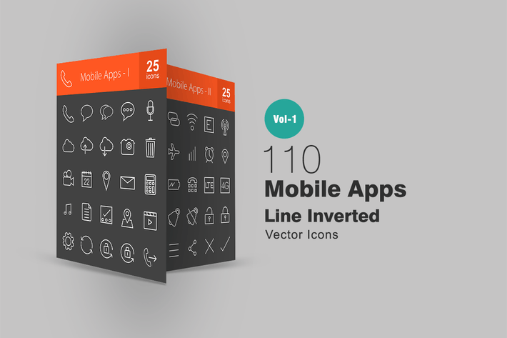 Thumbnail for 110 Mobile Apps Line Inverted Icons