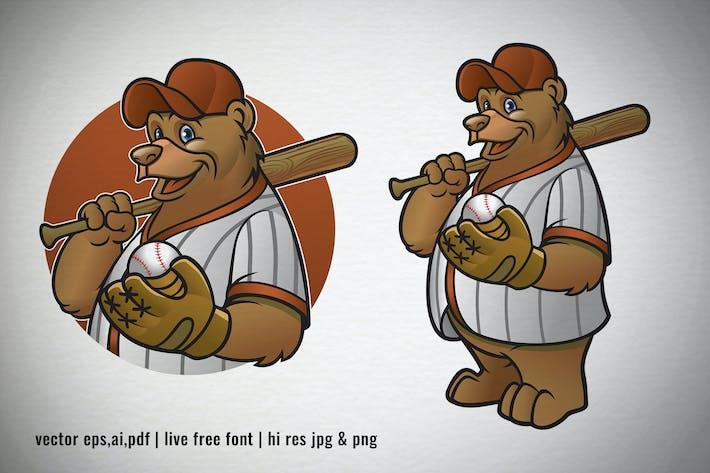 Thumbnail for set cartoon of brown bear baseball player