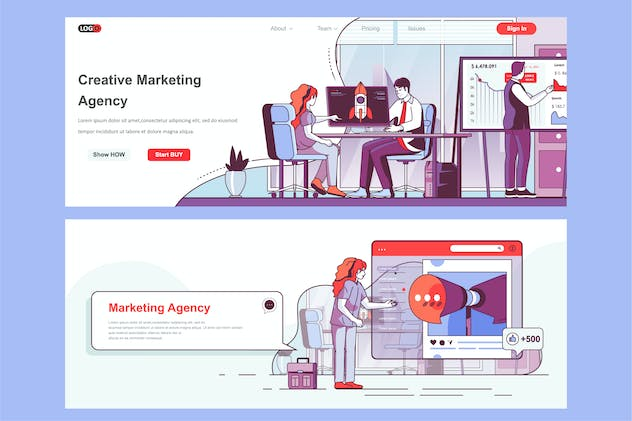 Creative Marketing Header Footer or Middle Content