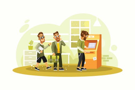 Queue at the Atm Vector Illustration