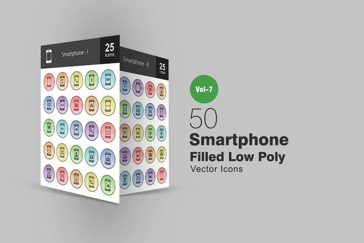 Thumbnail for 50 Smartphone Filled Low Poly Icons