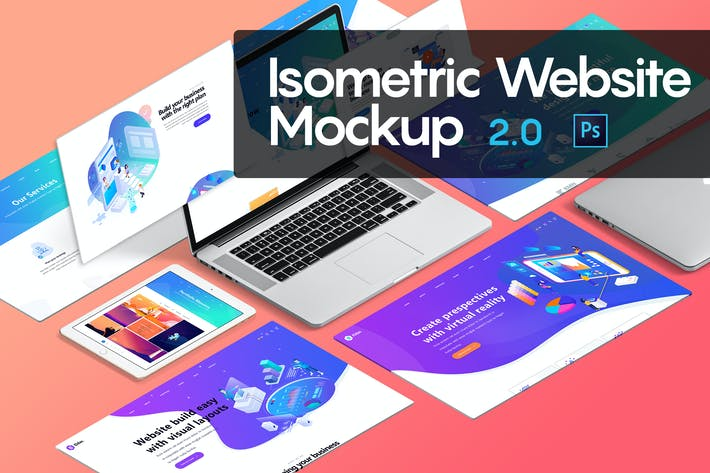 Thumbnail for Isometric Website Mockup 2.0