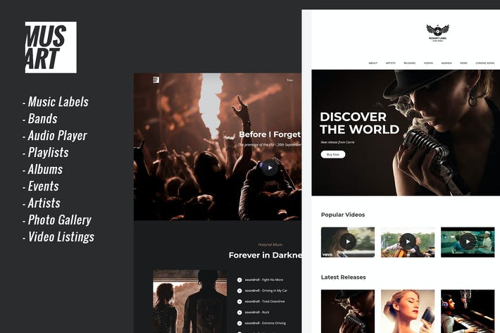 Thumbnail for Musart - Music Label and Artists WordPress Theme