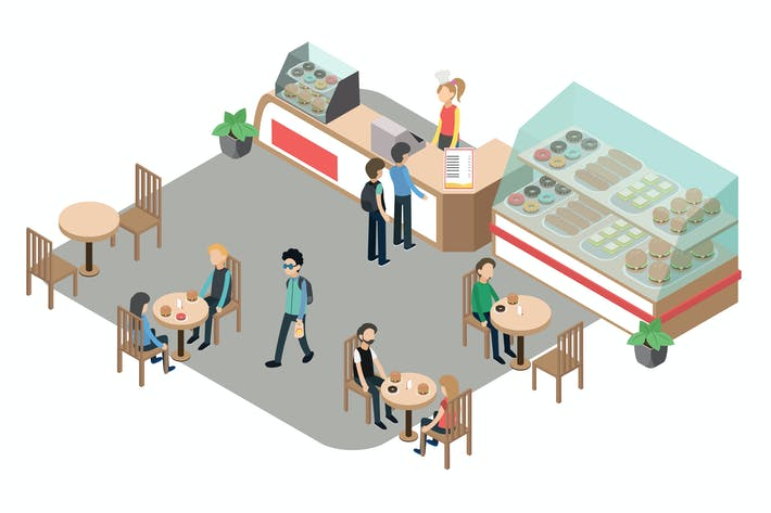 Thumbnail for Restaurant Activity Isometric Illustration