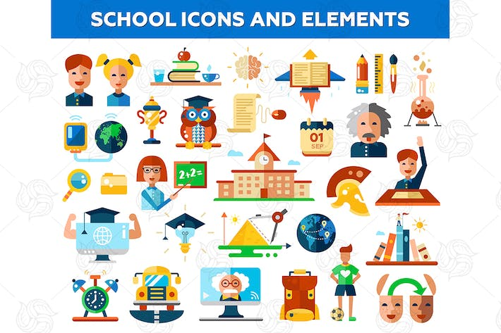 Thumbnail for School - set of flat design icons and elements