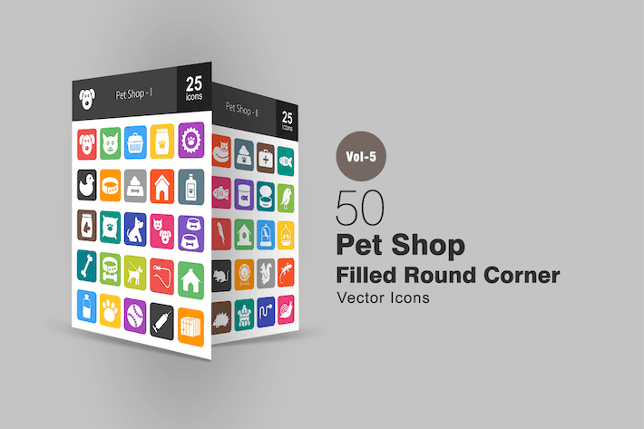 Cover Image For 50 Pet Shop Flat Round Corner Icons