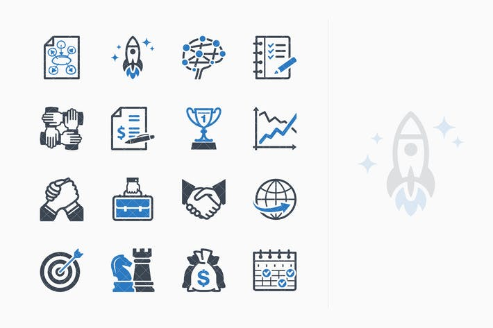 Thumbnail for Business Management Icons Set 4 - Blue Series