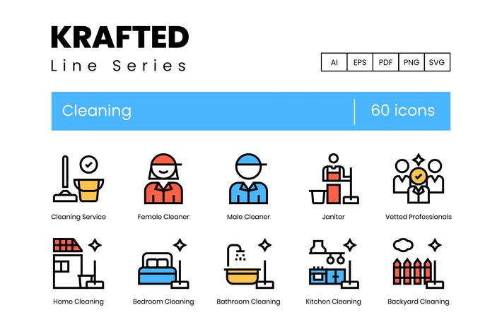 Thumbnail for 60 Cleaning Icons | Krafted Line Series