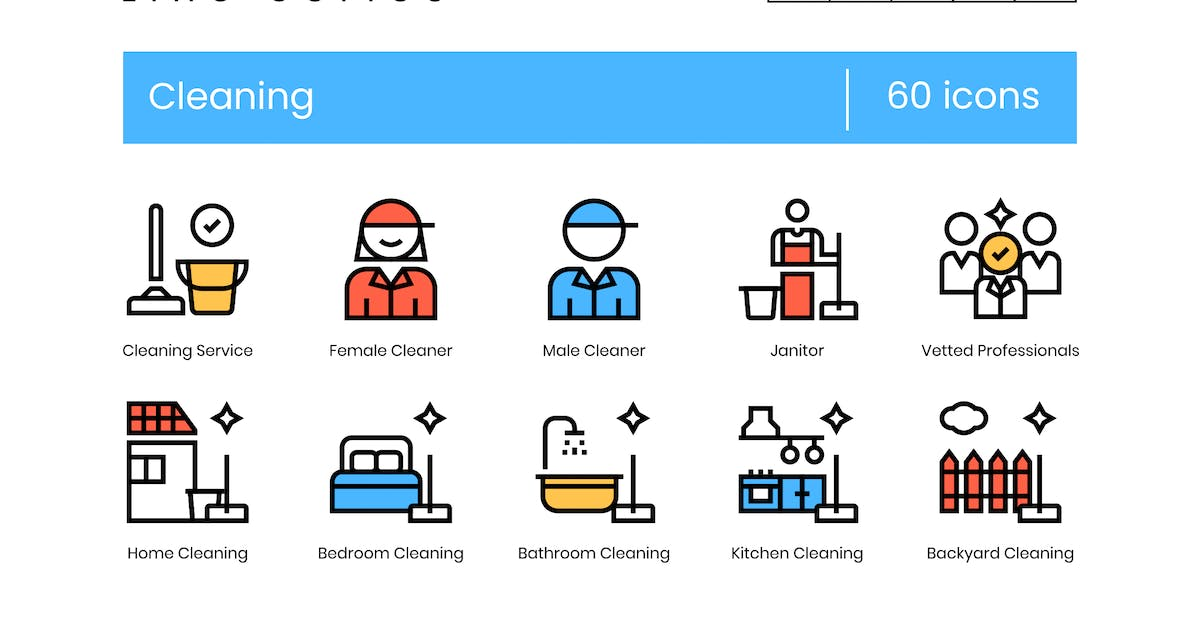 Download 60 Cleaning Icons   Krafted Line Series by Krafted