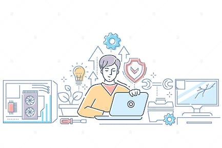 Компьютерный сервис - линия дизайна стиль illustion