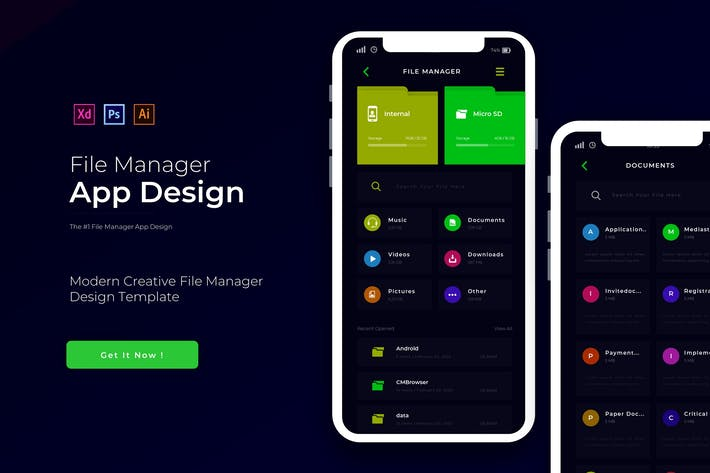 Thumbnail for File Manager | App Design Template