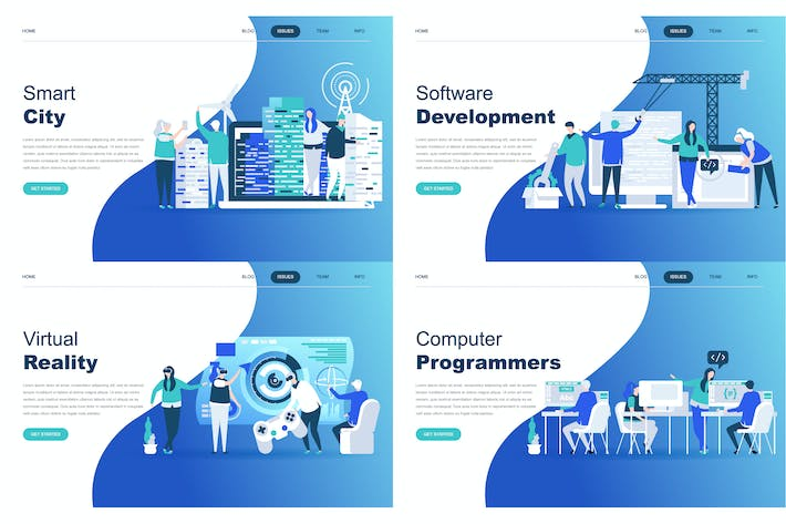 Thumbnail for Landing Page Templates Flat Concept