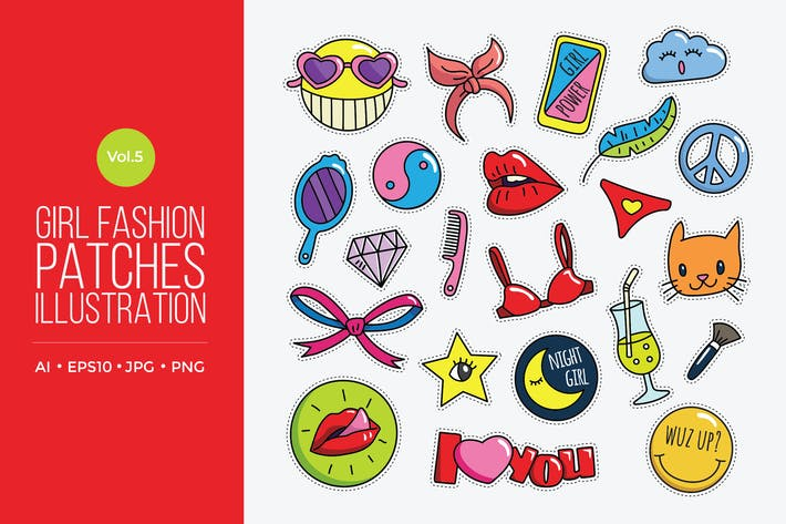 Thumbnail for Girl Power Fashion Vector Patches Vol.5