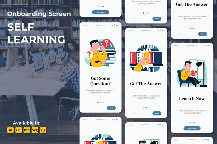 Thumbnail for E-learning education study oboarding screens