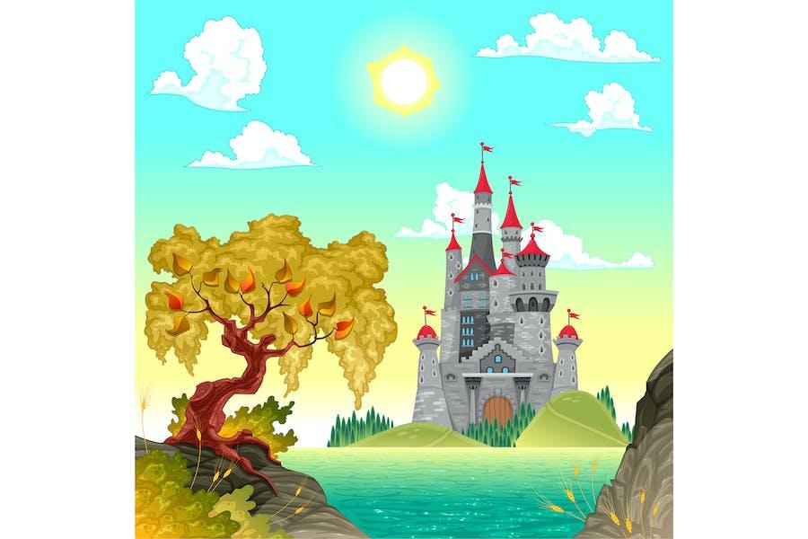 Фантазия пейзаж с замок
