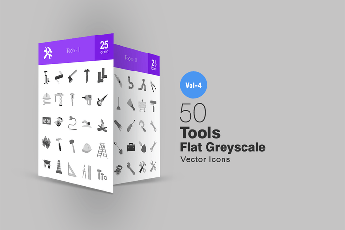 Thumbnail for 50 Tools Greyscale Icons