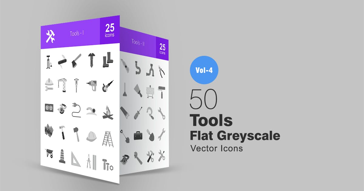Download 50 Tools Greyscale Icons by IconBunny
