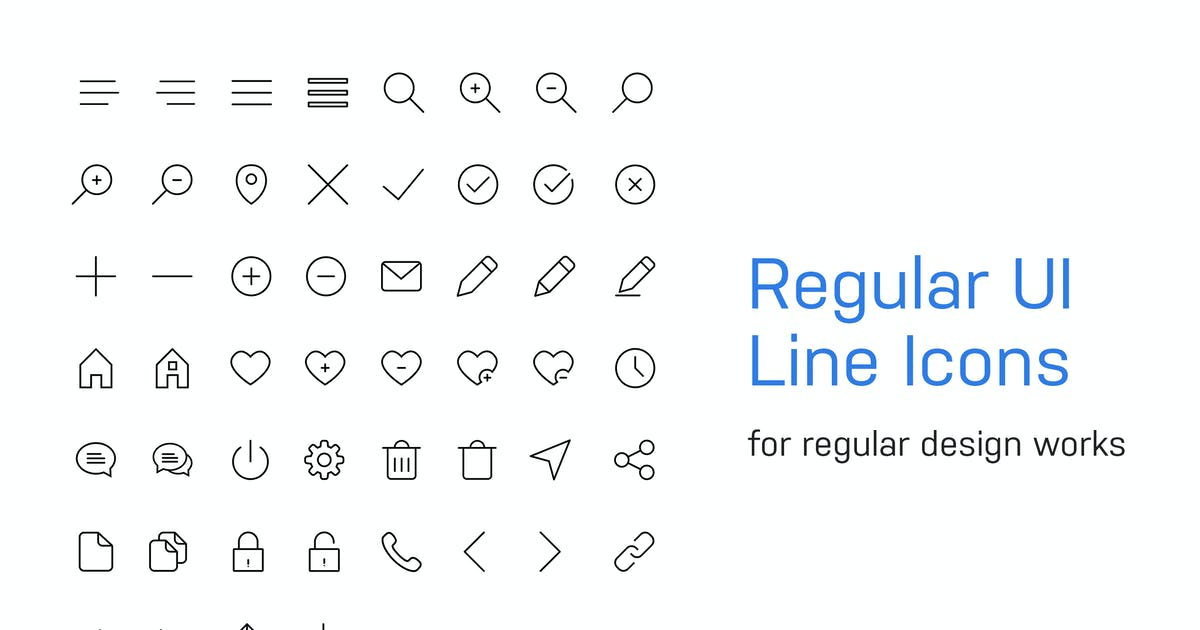 Download 56 Regular UI Line Icons by teamuxtheme