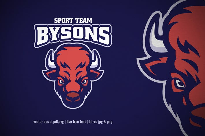 Thumbnail for american bison head mascot logo