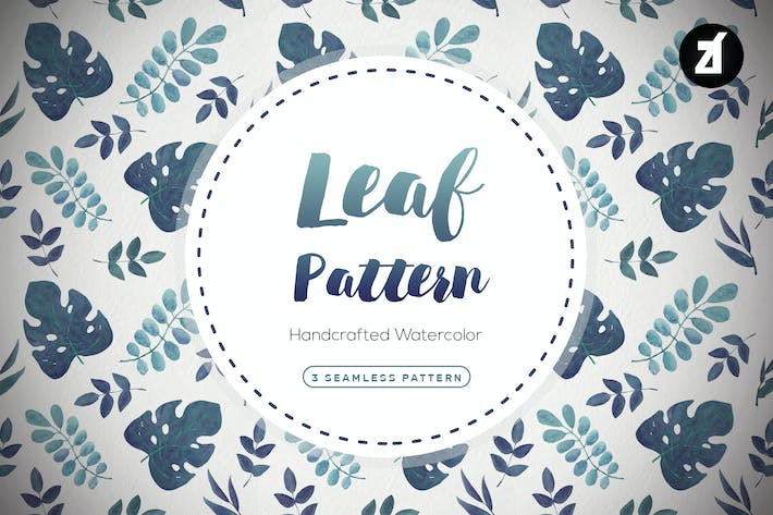 Thumbnail for Leaves pattern handdrawn watercolor illustration