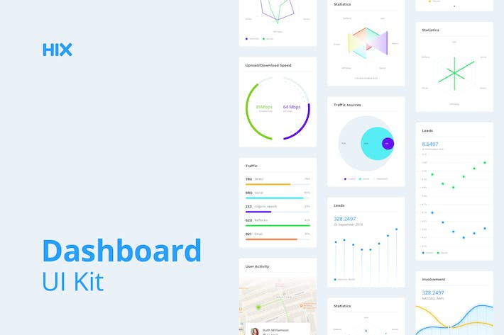 Cover Image For Dashboard UI Kit for Sketch – HIX