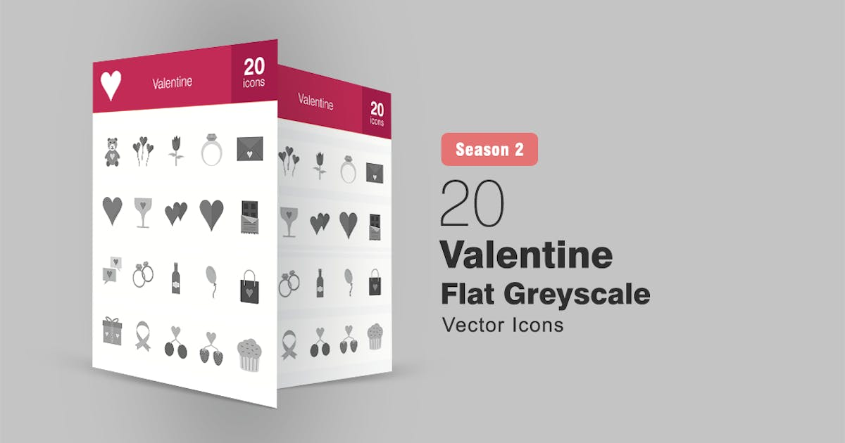 Download 20 Valentine Flat Greyscale Icons by IconBunny