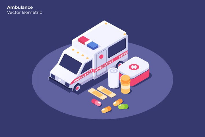 Cover Image For Ambulance - Vector Illustration