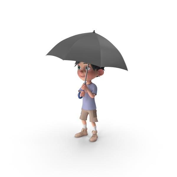 Thumbnail for Cartoon Boy Jack Holding Umbrella