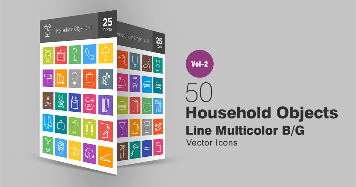 Download 50 Household Objects Line Multicolor Icons by Unknow