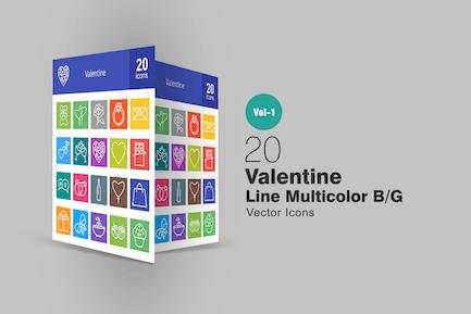 20 Íconos multicolor de la línea de San Valentín